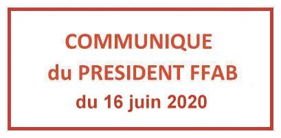 Communiqué du Président FFAB du 16 juin 2020